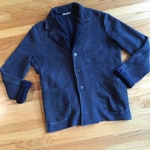 Boglioli dusty denim blue waffle knit cardigan